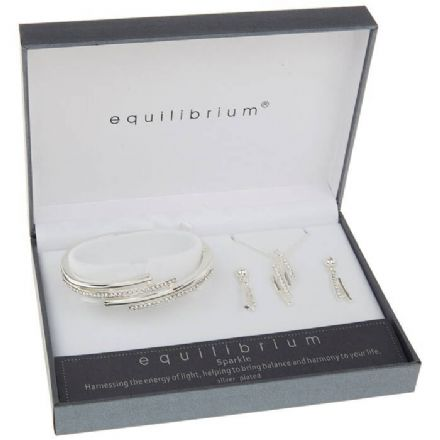 Silver Plated Sparkle Lines Necklace, Bracelet & Earrings Set